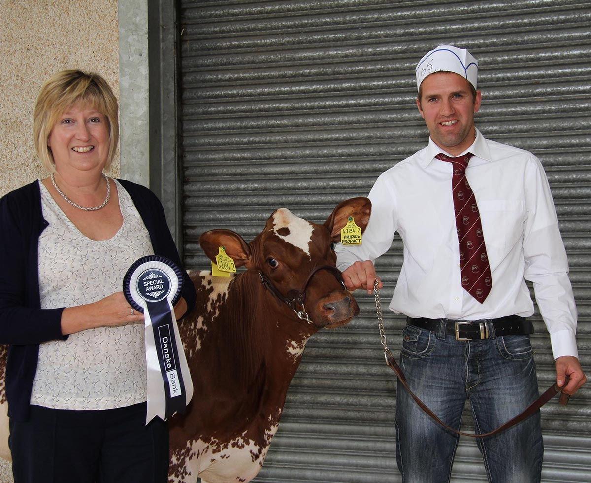 Stephen Booth, Stewartstown, secured the honourable mention Shorthorn award with Kilsally Cherry Blossom 9. He was congratulated by Maureen Currie, Danske Bank.