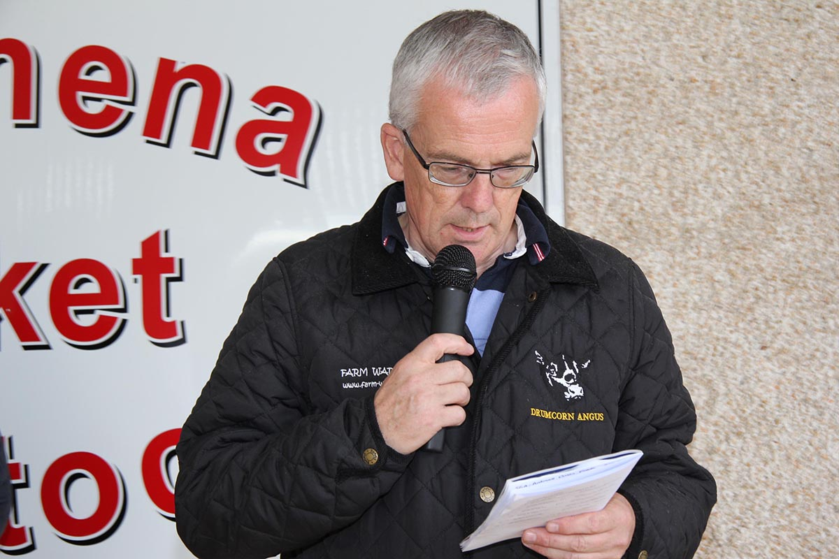 Commentator John Henning pictured at the 14th annual mutli-breed dairy calf show, held at Ballymena Mart.