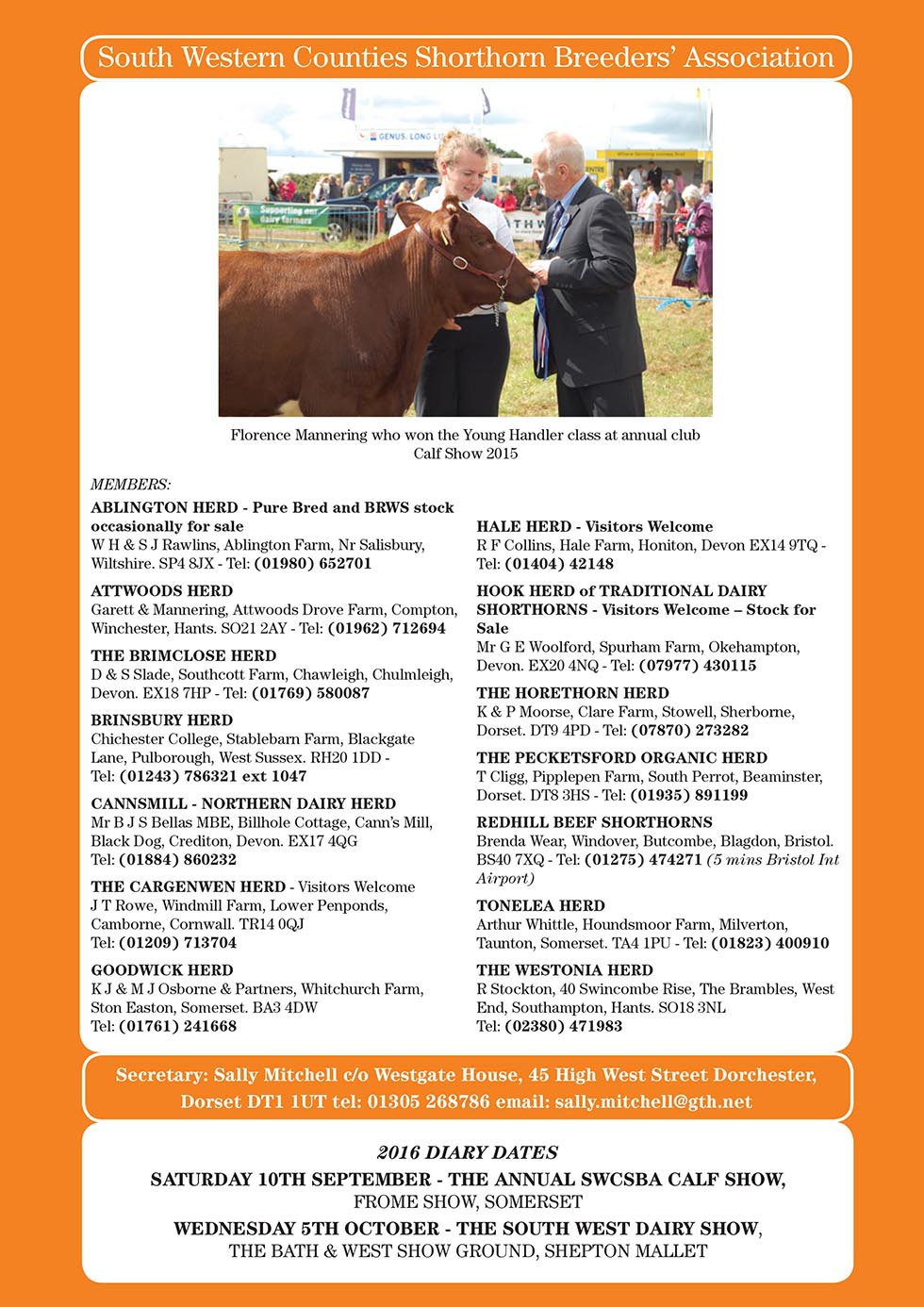 South Western Counties Shorthorn Breeders Association advert