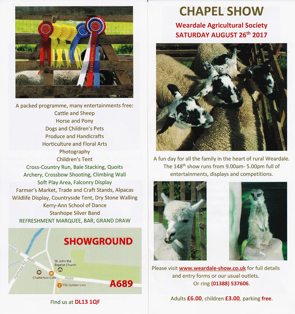 Weardale Society's 148th Chapel Agricultural Show